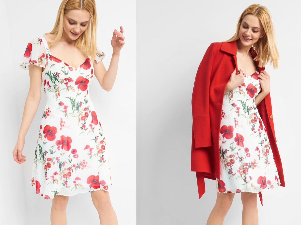 Rozkloszowana sukienka w kwiaty, Orsay, cena ok.  159,99 zł