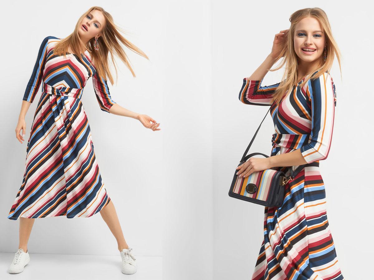 Rozkloszowana sukienka w paski, Orsay, cena ok. 159,99 zł
