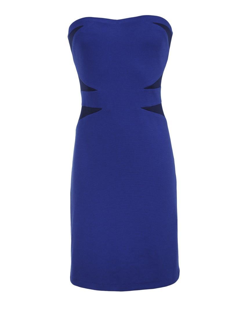 niebieska sukienka Top Secret odkryte ramiona - wiosna-lato 2011