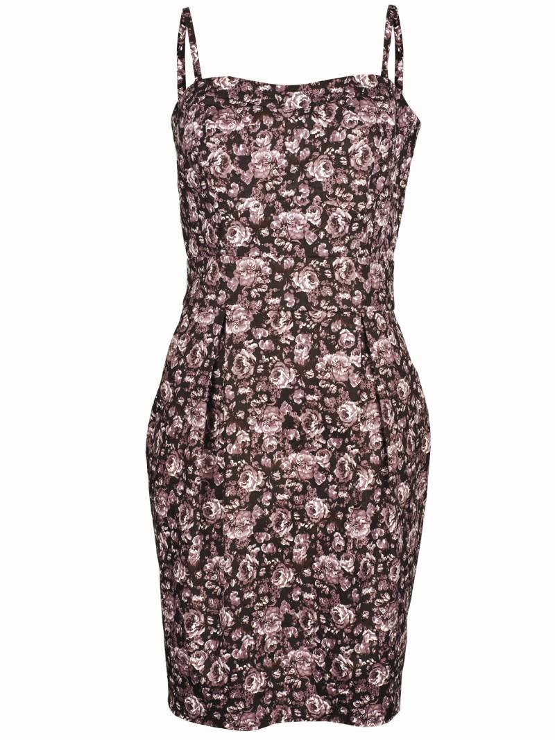 brązowa sukienka Top Secret w kwiaty - kolekcja wiosenno/letnia