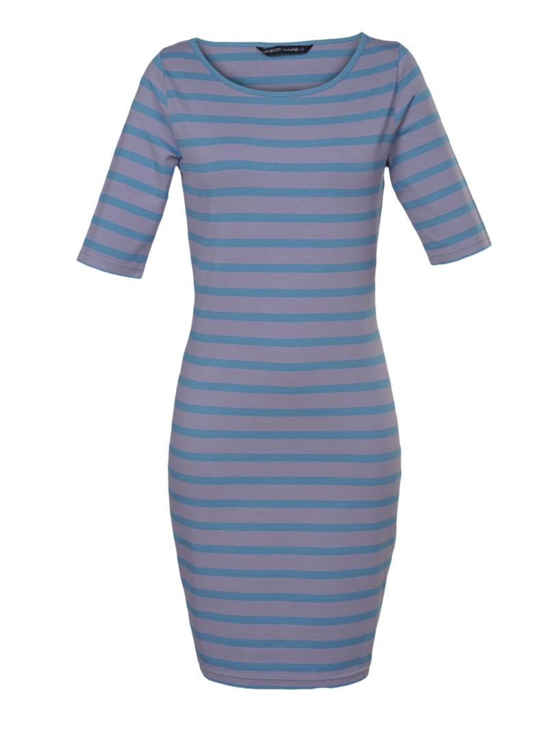 niebieska sukienka Top Secret w paski - sezon wiosenno-letni