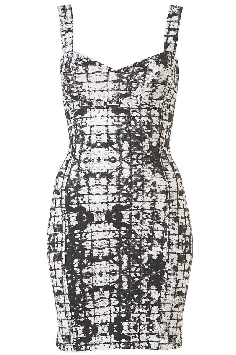 08cdf3f149 biała sukienka Topshop we wzory obcisła - z kolekcji wiosna-lato ...