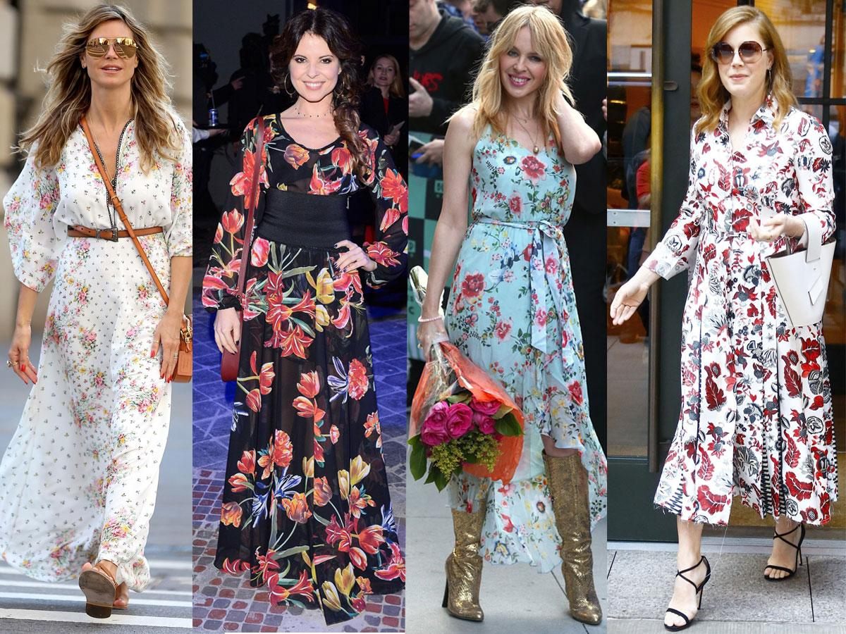 Sukienki w kwiaty maxi - stylizacje gwiazd