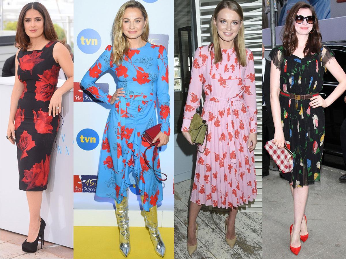 Sukienki midi w kwiaty - stylizacje gwiazd