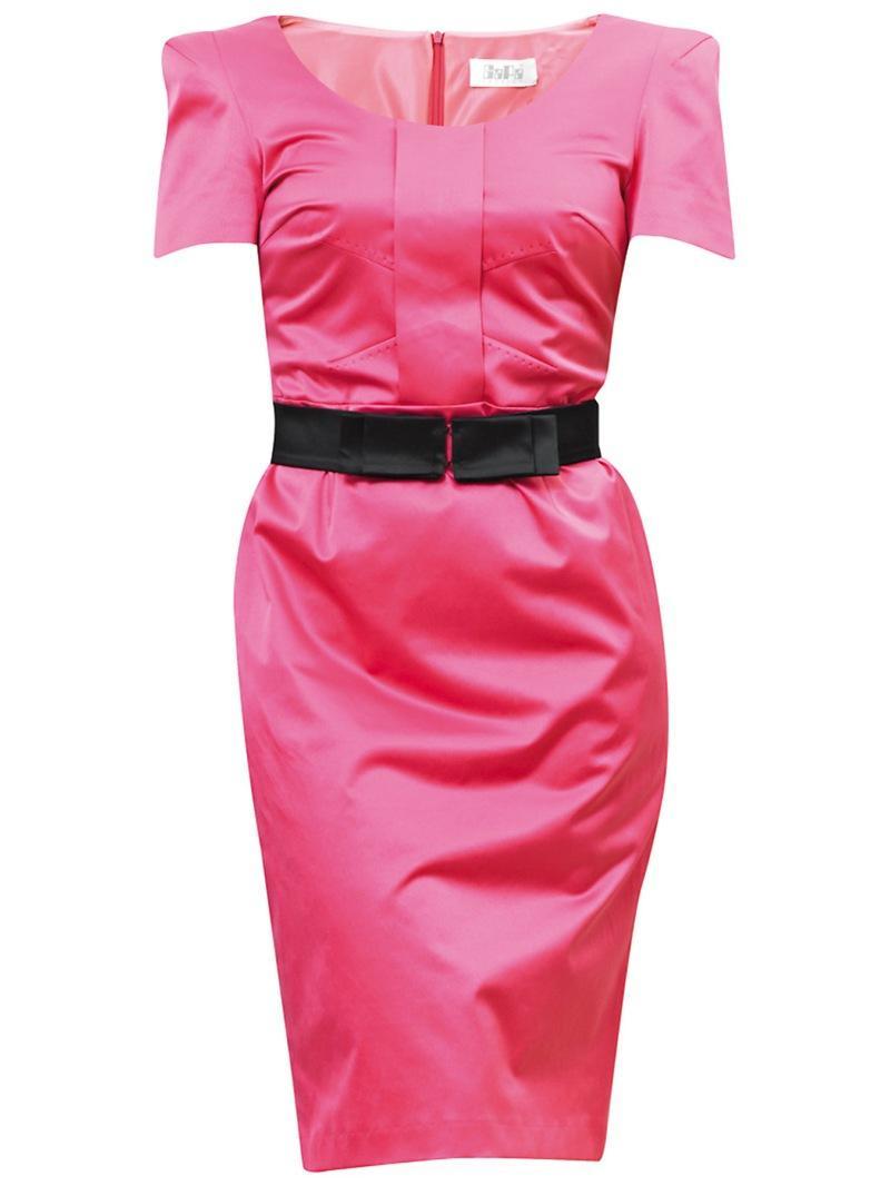 różowa sukienka wieczorowa Gapa Fashion satynowa