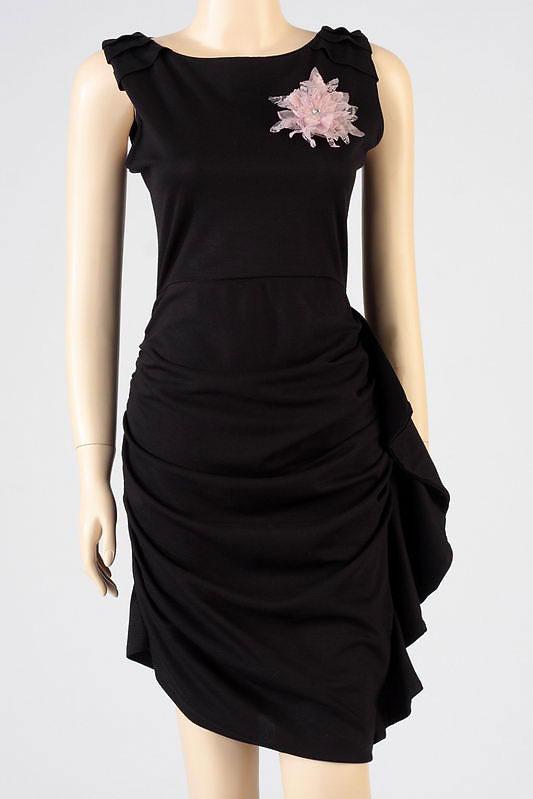 czarna sukienka wieczorowa Szafomania satynowa