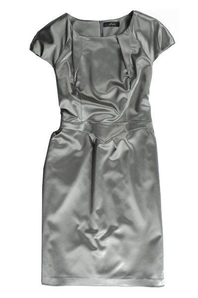 srebrna sukienka wieczorowa Aryton satynowa