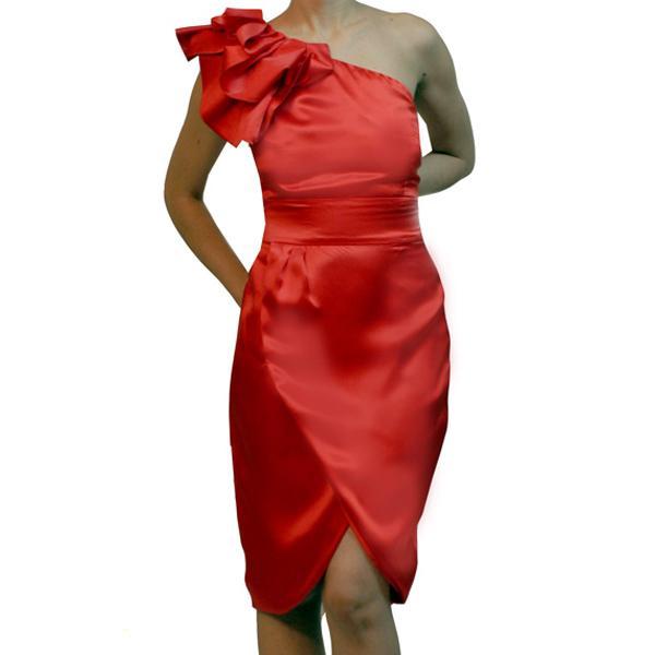 czerwona sukienka wieczorowa H&M satynowa