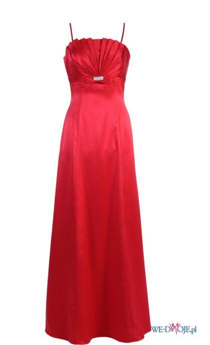 czerwona sukienka wieczorowa Modesta długa