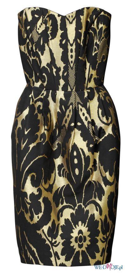 złota sukienka wieczorowa H&M ołówkowa