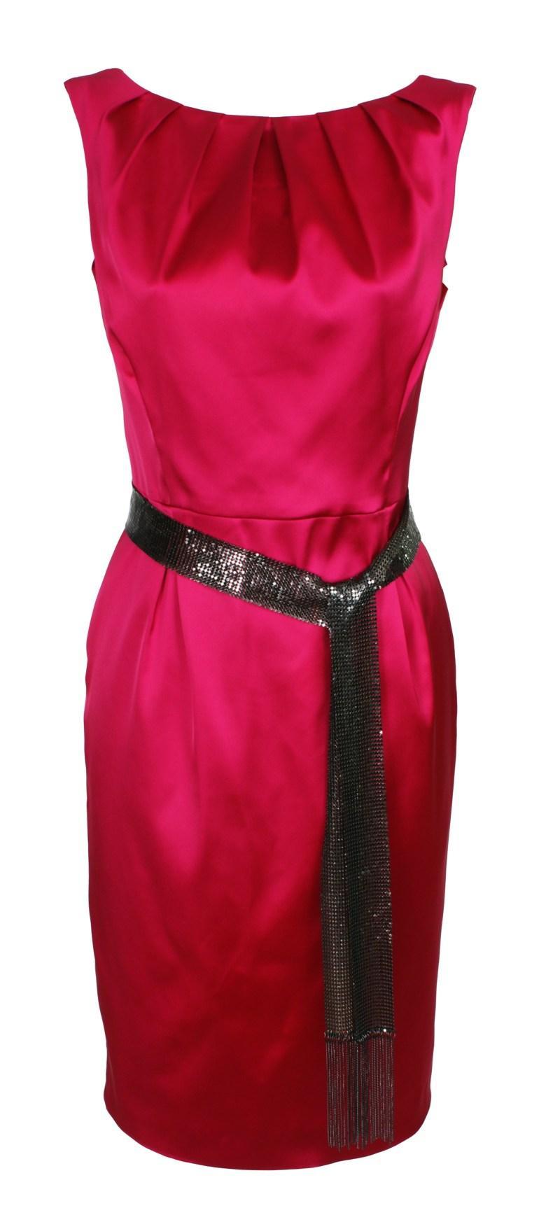elegancka malinowa sukienka z satyny od Simple - jesień/zima 2010/2011