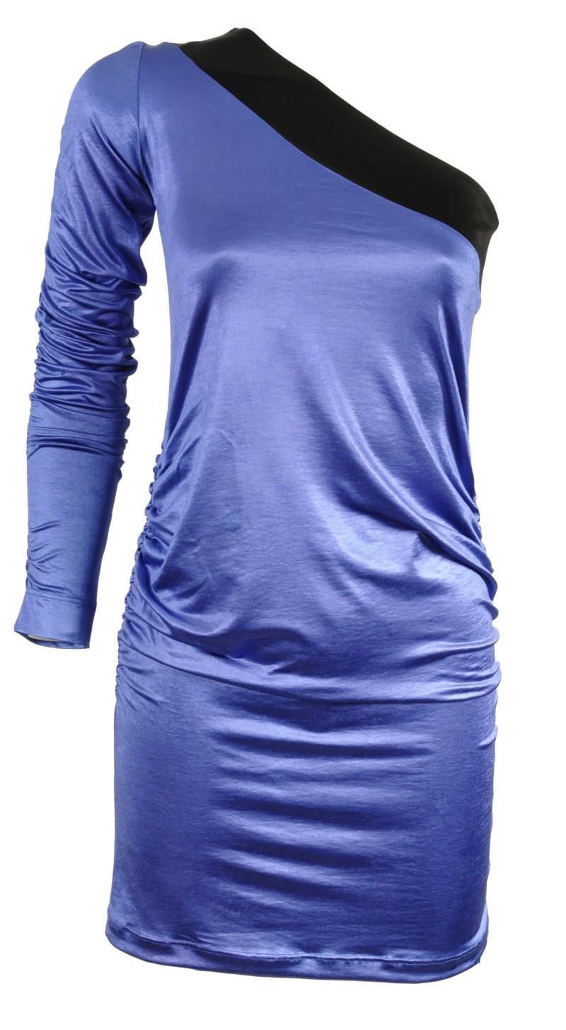 błękitna sukienka z satyny na jedno ramię Simple - jesień/zima 2010/2011