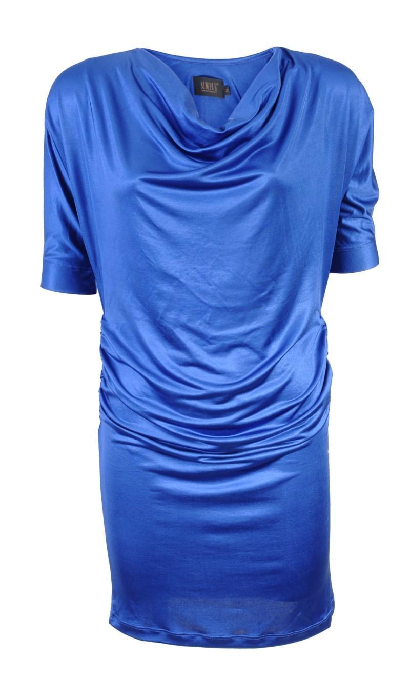 niebieska tunika z satyny Simple - jesień/zima 2010/2011