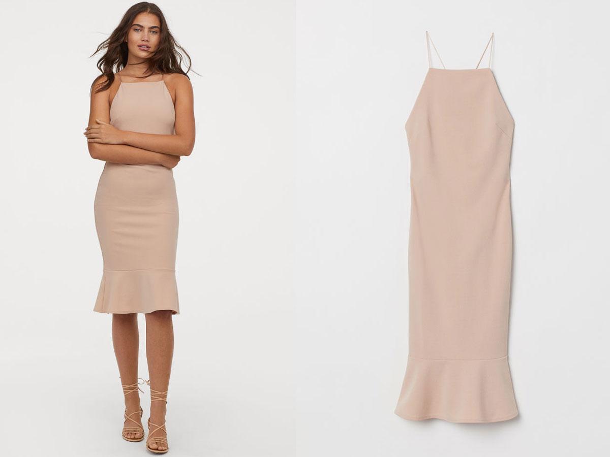 Sukienka nude z dekoltem z tyłu, H&M, cena ok. 129,90 zł
