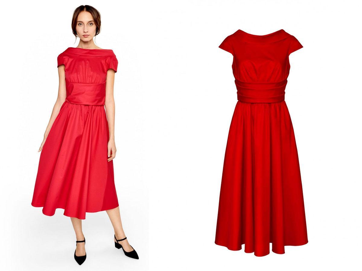 Czerwona sukienka z szarfą, Hexeline, cena ok. 1 145,00 zł