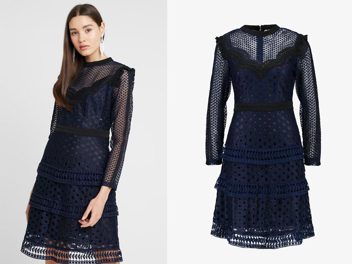 Granatowa sukienka z koronką, YAS (zalando.pl), cena ok. 549,00 zł