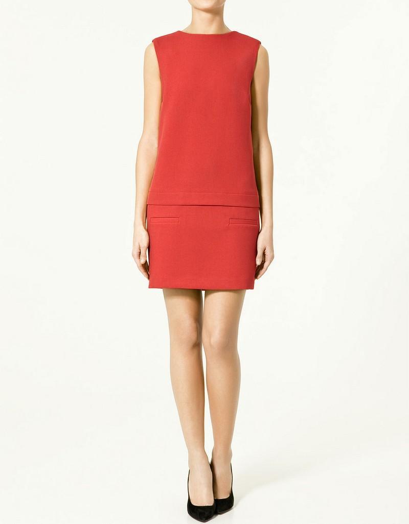 czerwona sukienka ZARA - trendy wiosna-lato