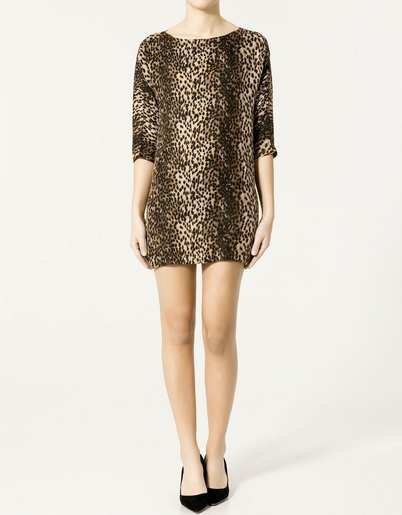 brązowa sukienka ZARA w panterkę - moda 2011