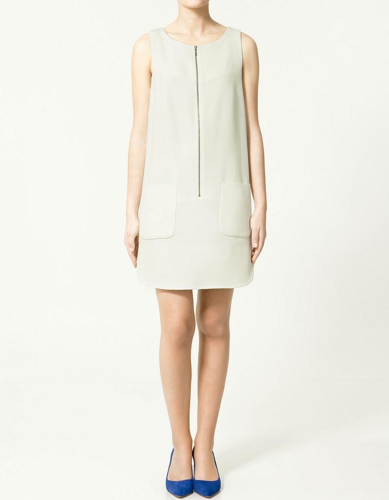 ecru sukienka ZARA - wiosenna kolekcja