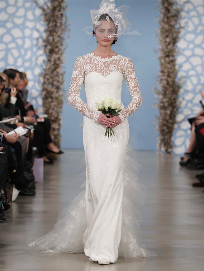 biała suknia ślubna Oscar de la Renta z koronkowami rękawami