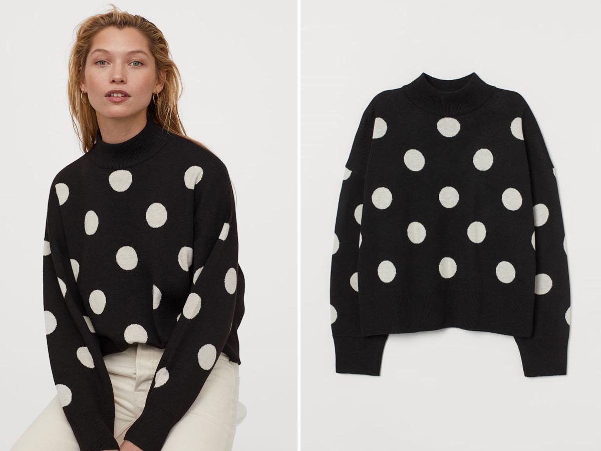 sweter w grochy z H&M