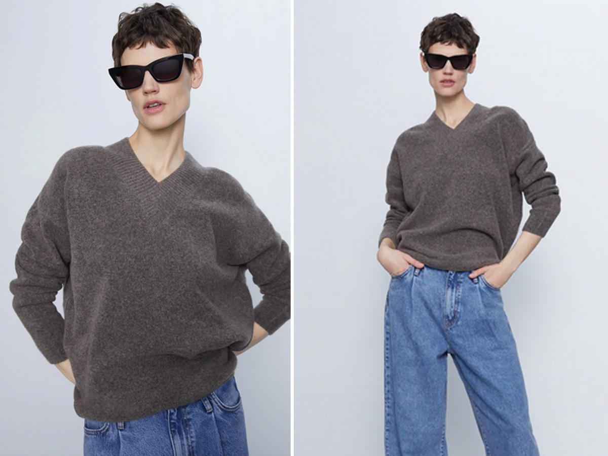 sweter w serek Zara