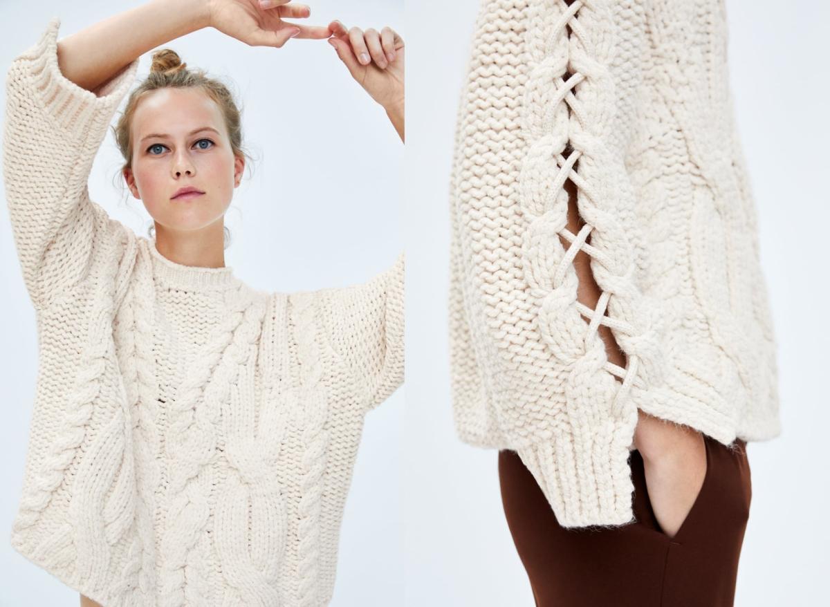Biały sweter oversize, Zara