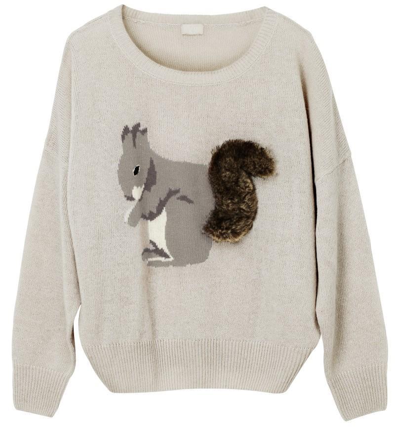 szary sweter H&M z aplikacją - z kolekcji jesień-zima