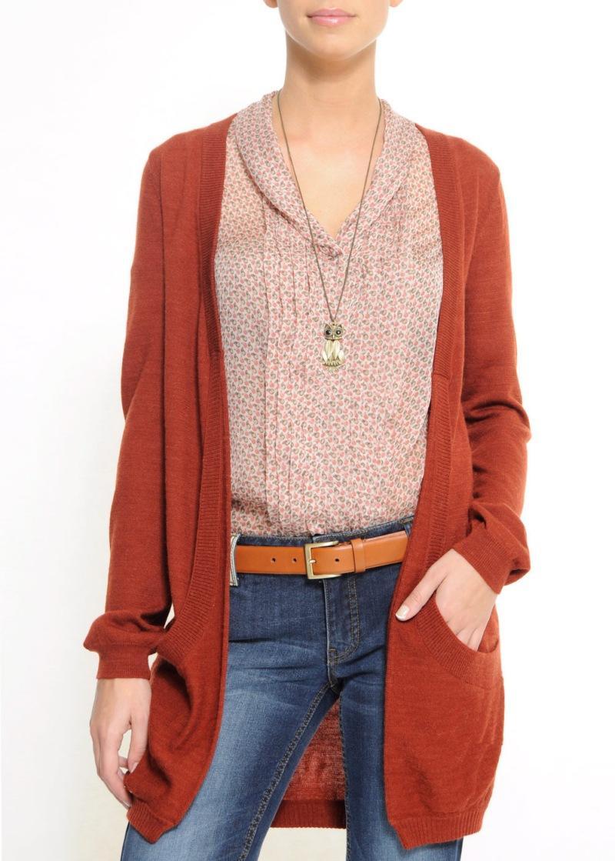 bordowy sweter Mango z kieszeniami długie - kolekcja wiosenno/letnia