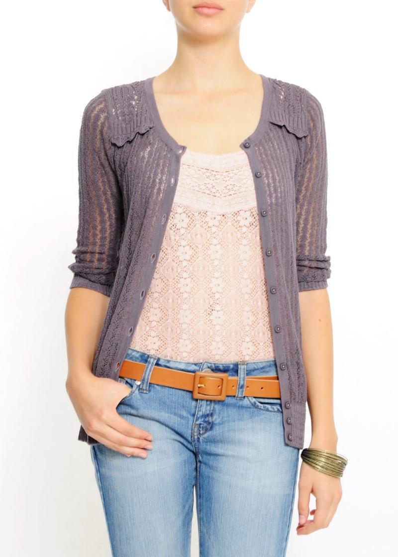 fioletowy sweter Mango w paski rozpinany - moda wiosna/lato