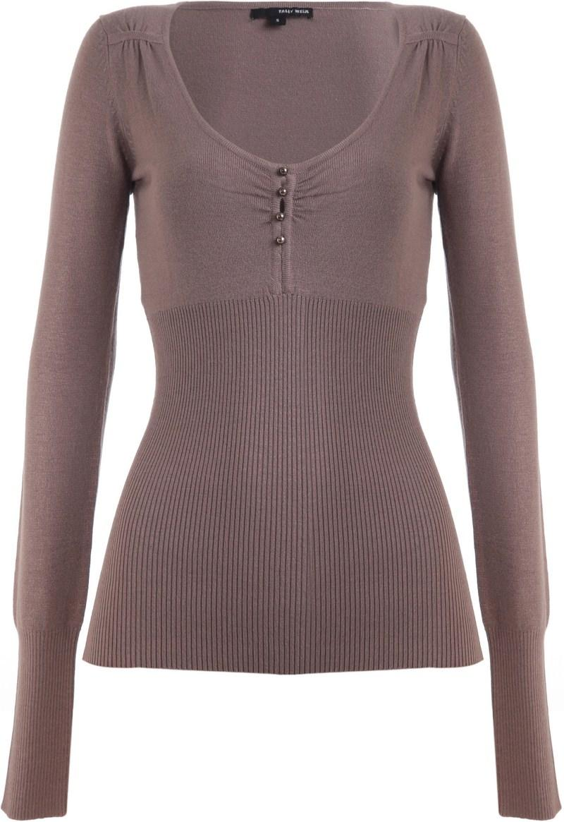brązowy sweter Tally Weijl z guzikami - trendy wiosna-lato