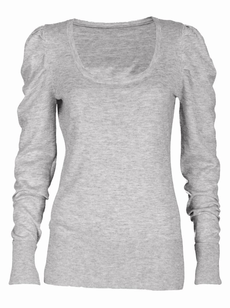 szary sweter Top Secret z bufkami - moda wiosna/lato