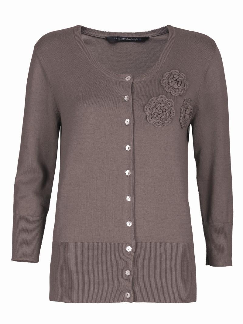 brązowy sweter Top Secret rozpinany - wiosna 2011