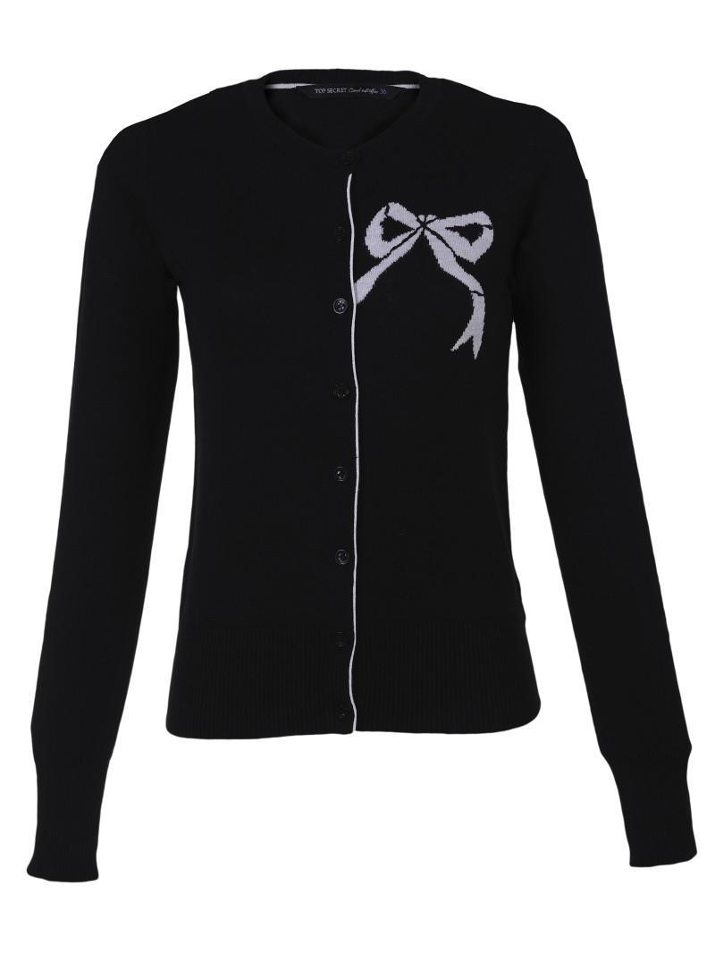 czarny sweter Top Secret z kokardą rozpinany - trendy wiosna-lato