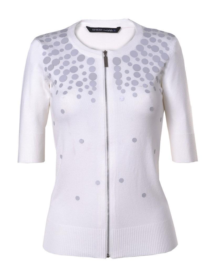 biały sweter Top Secret z zamkiem - wiosenna kolekcja