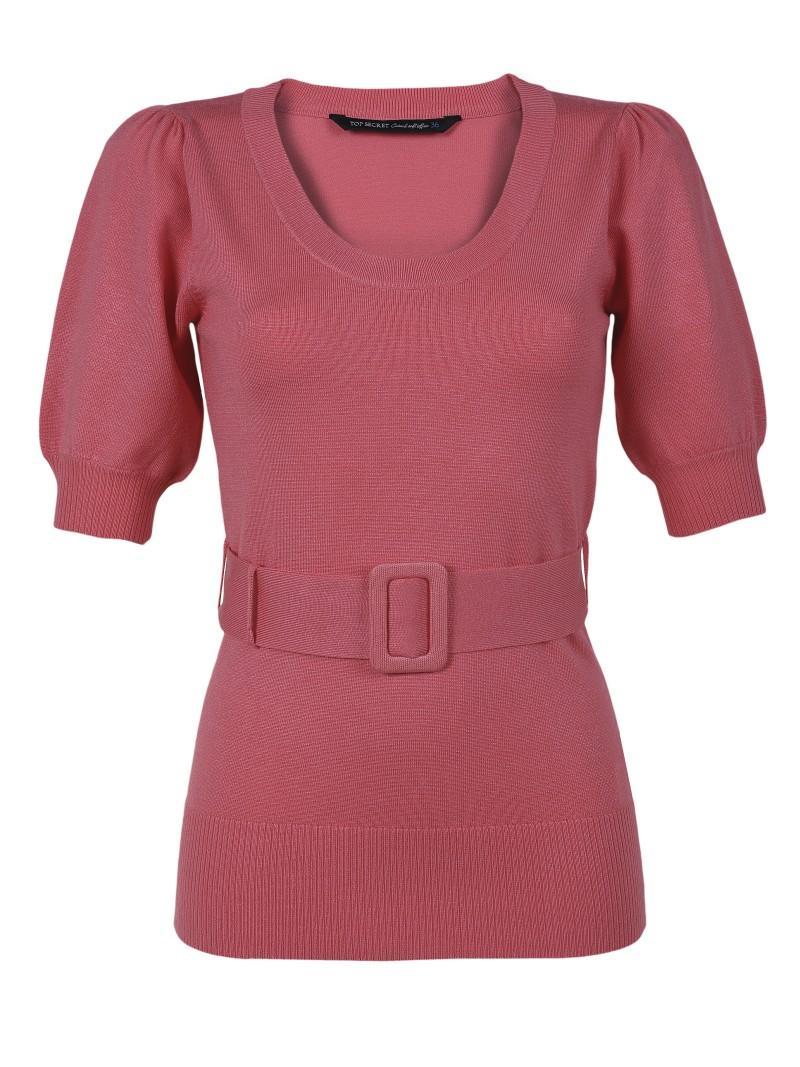 czerwony sweter Top Secret z paskiem - trendy wiosna-lato