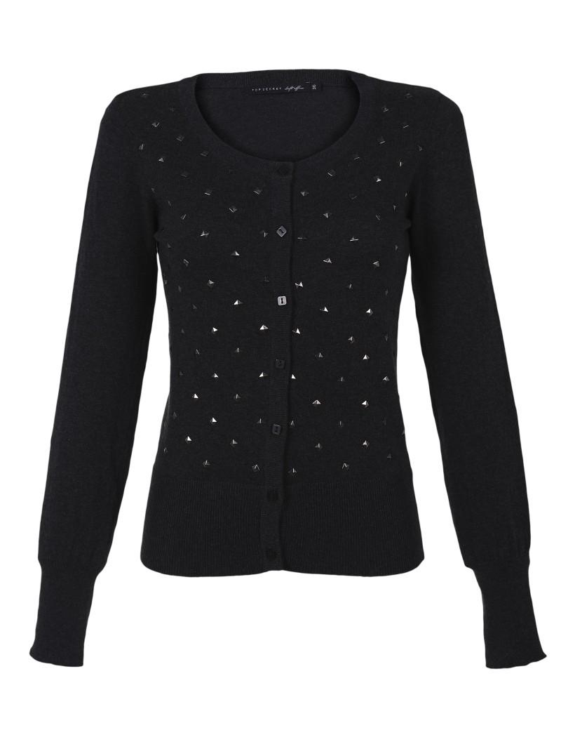 czarny sweter Top Secret rozpinany - moda wiosna/lato