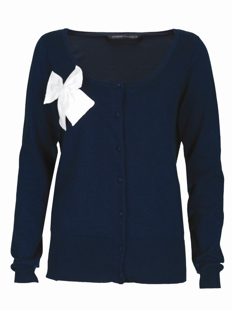 granatowy sweter Top Secret z kokardą rozpinany - trendy wiosna-lato