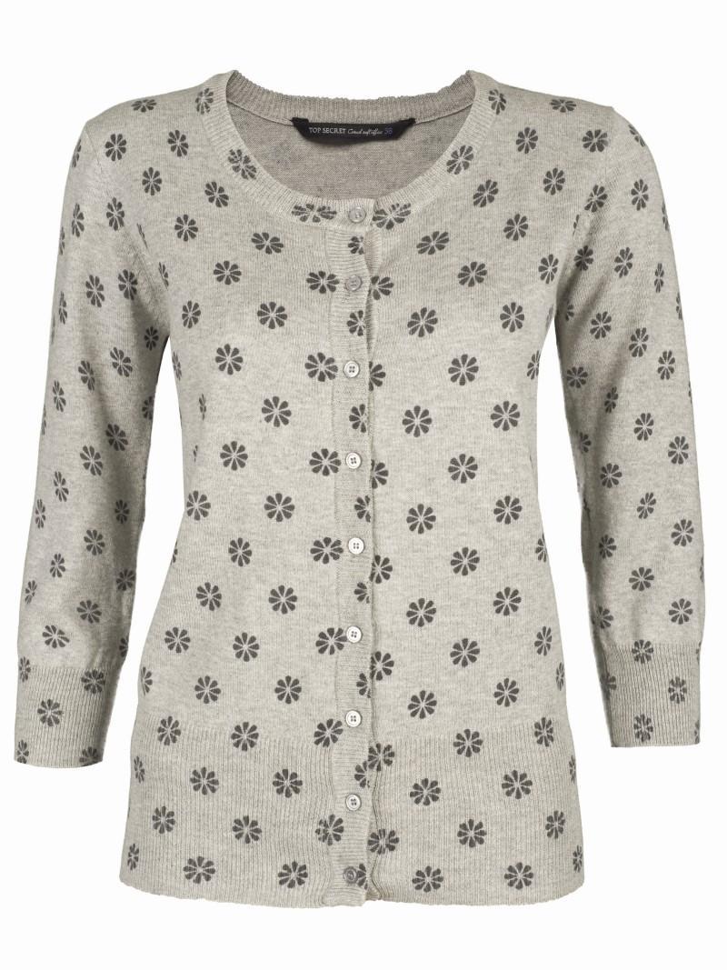 szary sweter Top Secret w kwiaty rozpinany - moda 2011