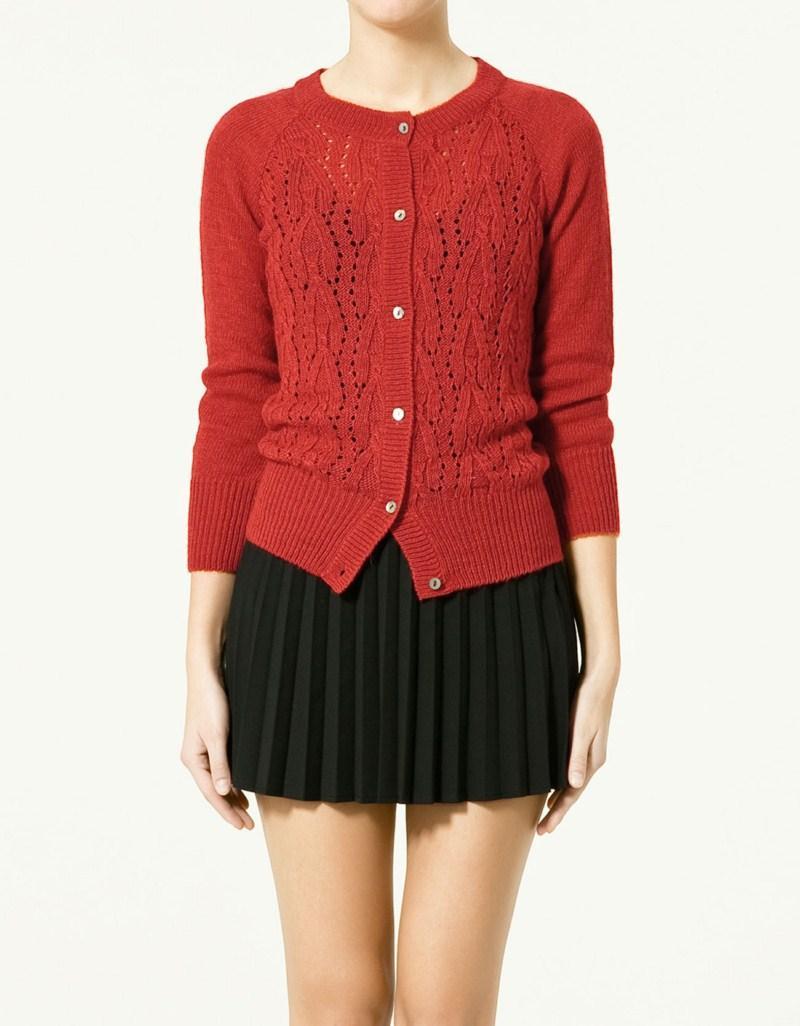 czerwony sweter ZARA rozpinany - wiosna/lato 2011