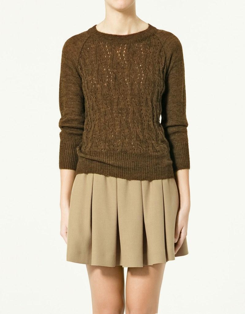 brązowy sweter ZARA - wiosna 2011