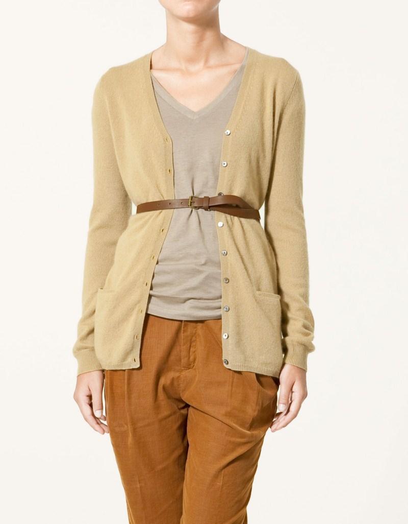 beżowy sweter ZARA rozpinany - wiosenna kolekcja