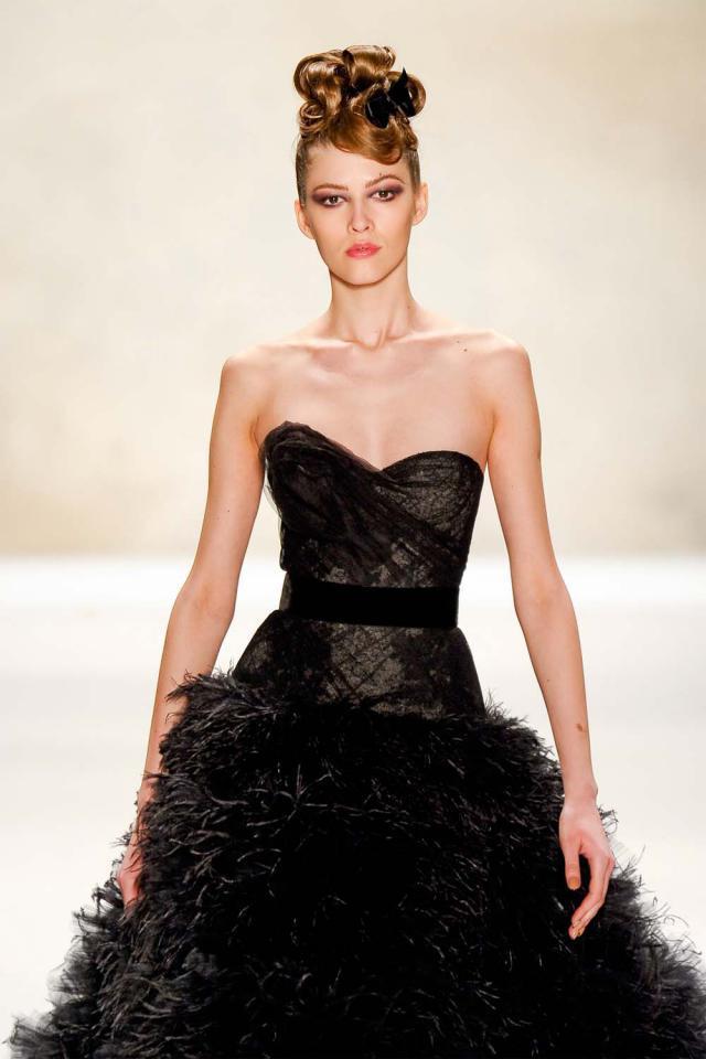 Monique Lhuillier, fryzura, zima 2012, trendy, Święta, boze narodzenie, gwiazdka, na spotkanie