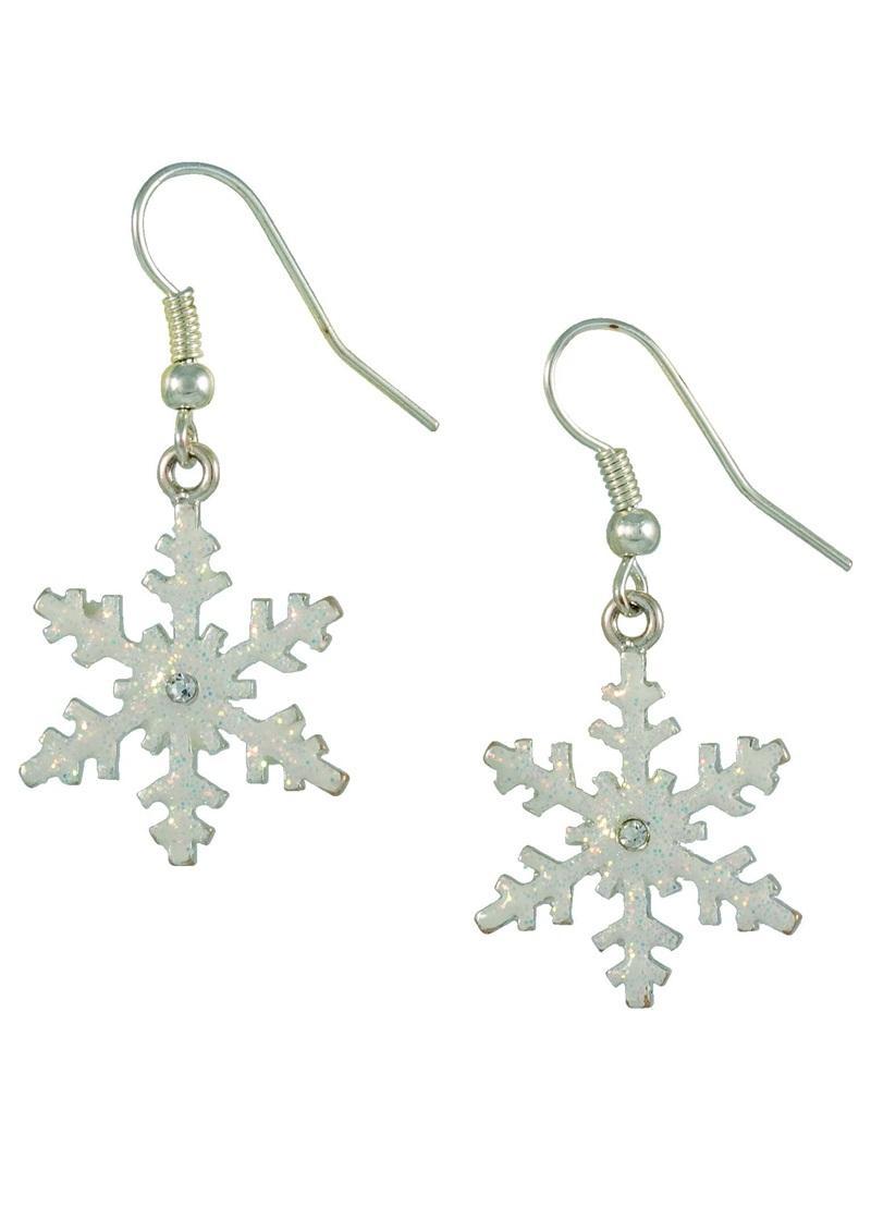 długie kolczyki gwiazdki SIX w kolorze srebrnym - świąteczne akcesoria