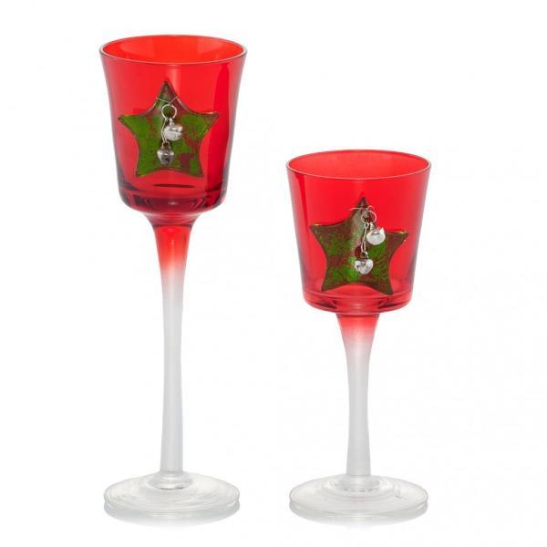 Czerwony świecznik z gwiazdkami, Home&You, 25 zł