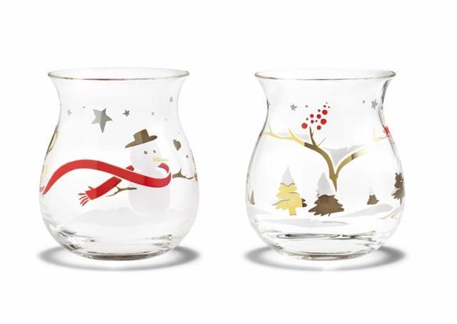 Dwa szklane świeczniki z świątecznymi zdobieniami. Holmegaard, 141 zł