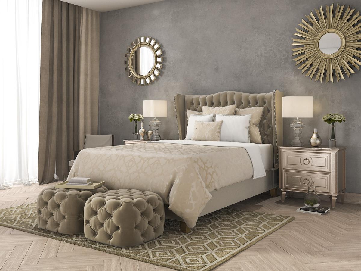sypialnia glamour aranżacje