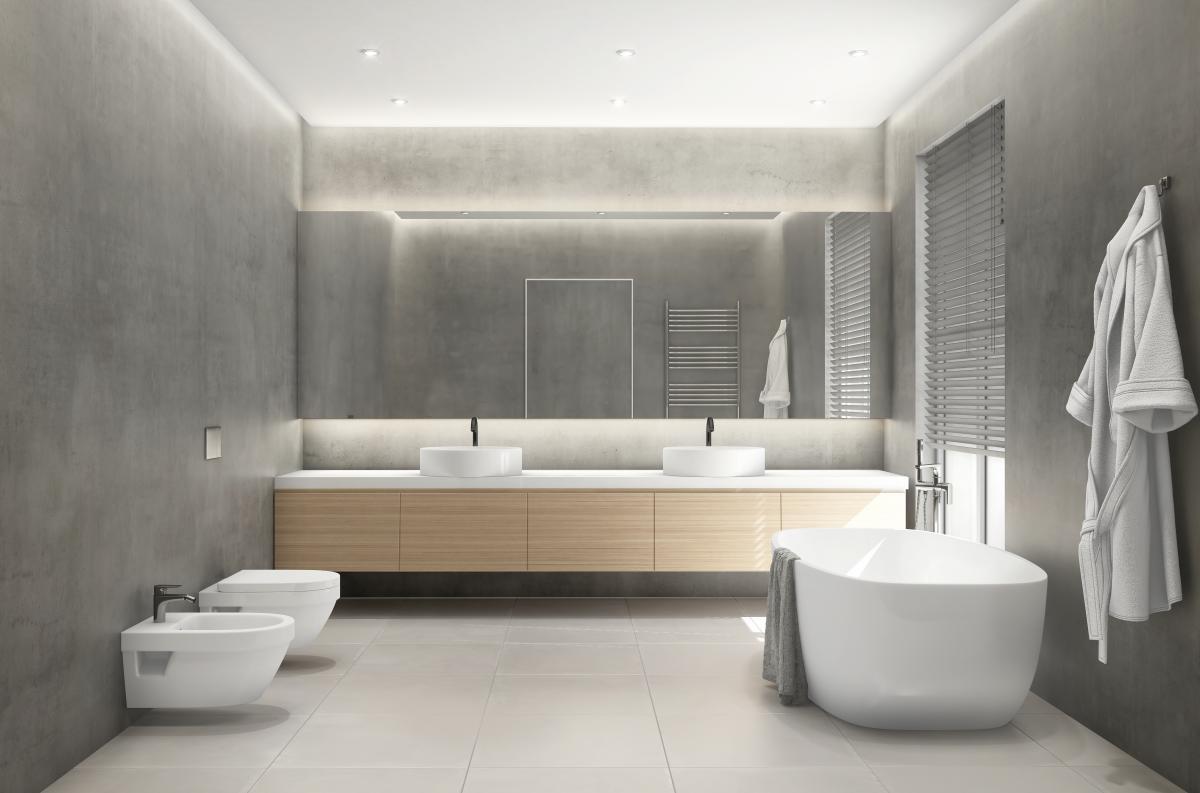 szara łazienka z drewnem aranżacje