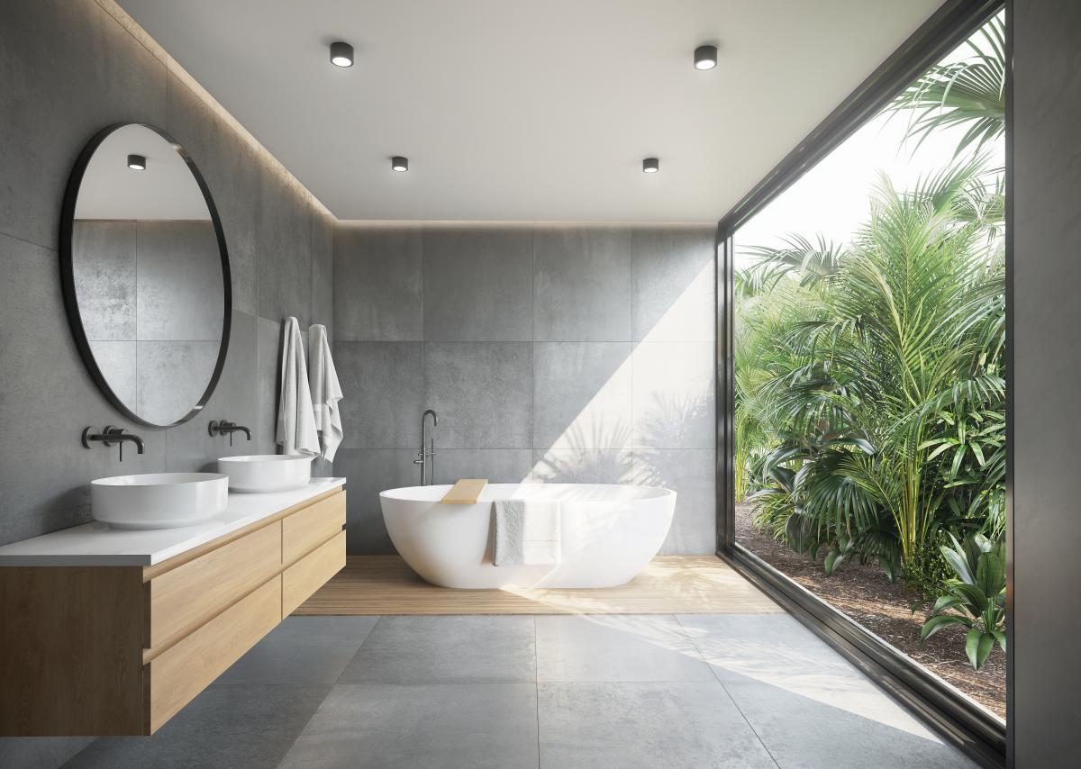 szara łazienka z drewnem projekt