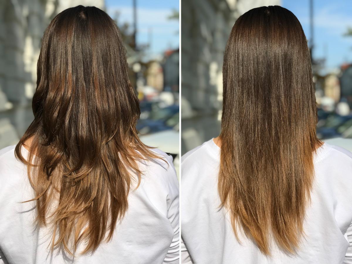 Włosy przed i po użyciu szczitki prostującej Philips